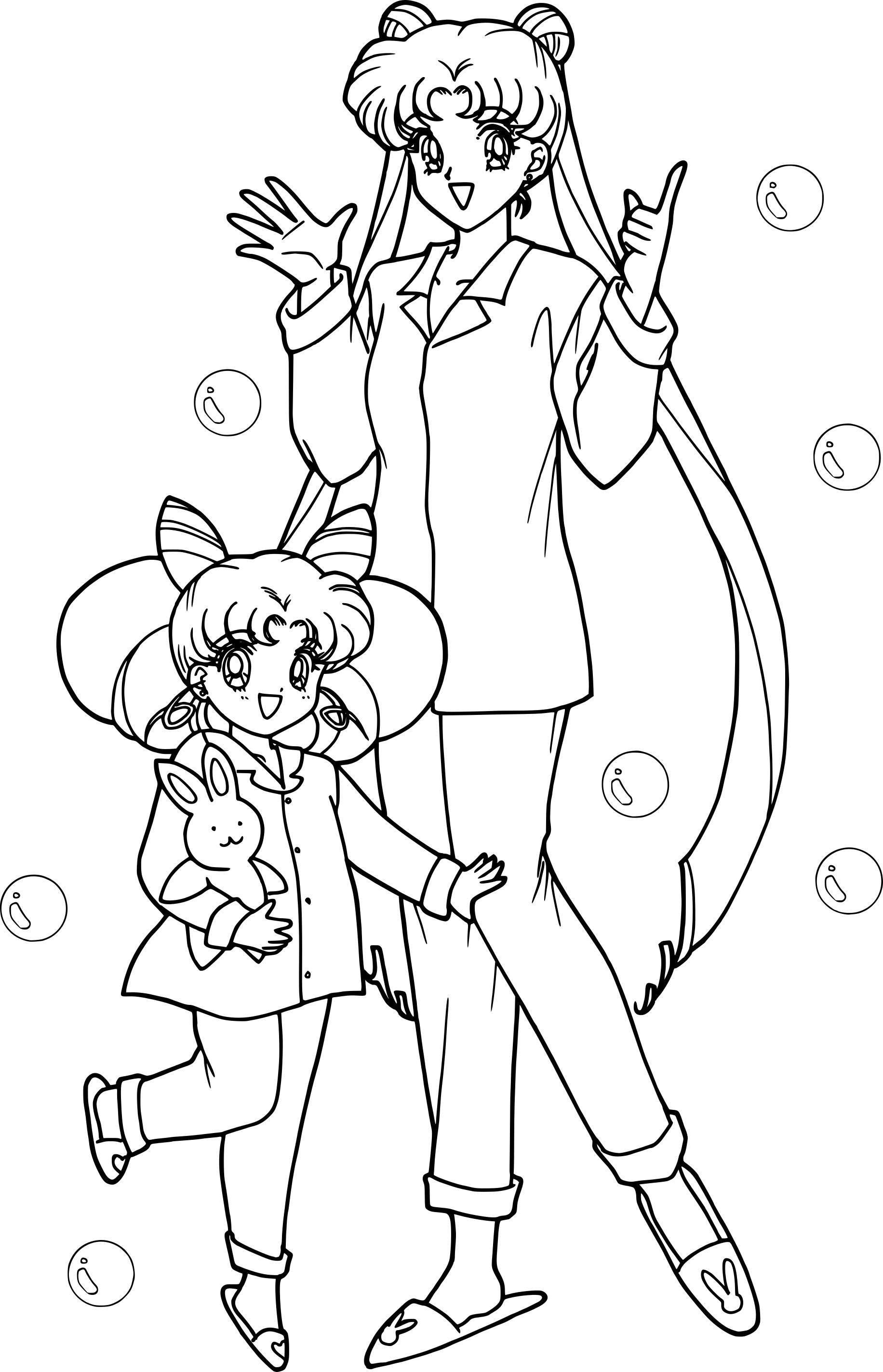Coloriage De Fille Chibi.Coloriage Sailor Moon Et Chibi A Imprimer Gratuit