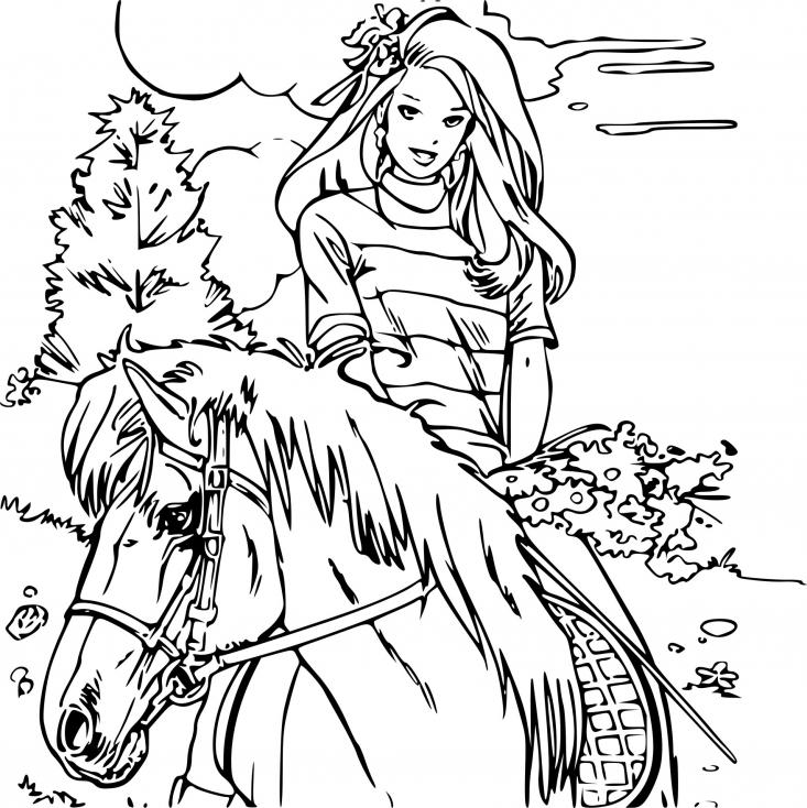 Coloriage barbie et un cheval imprimer gratuit - Imprimer un cheval ...