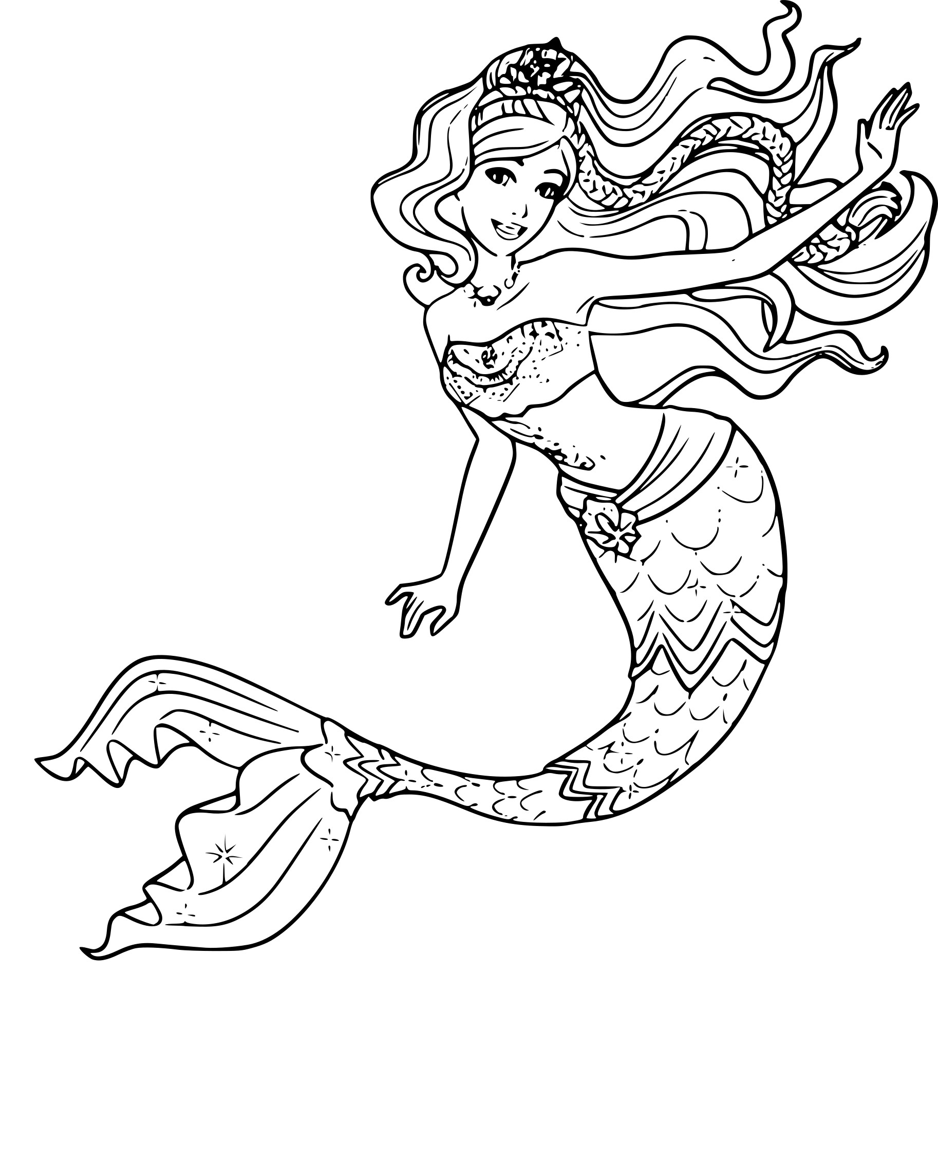 Coloriage barbie sir ne 2 imprimer gratuit - Dessin de barbie sirene ...