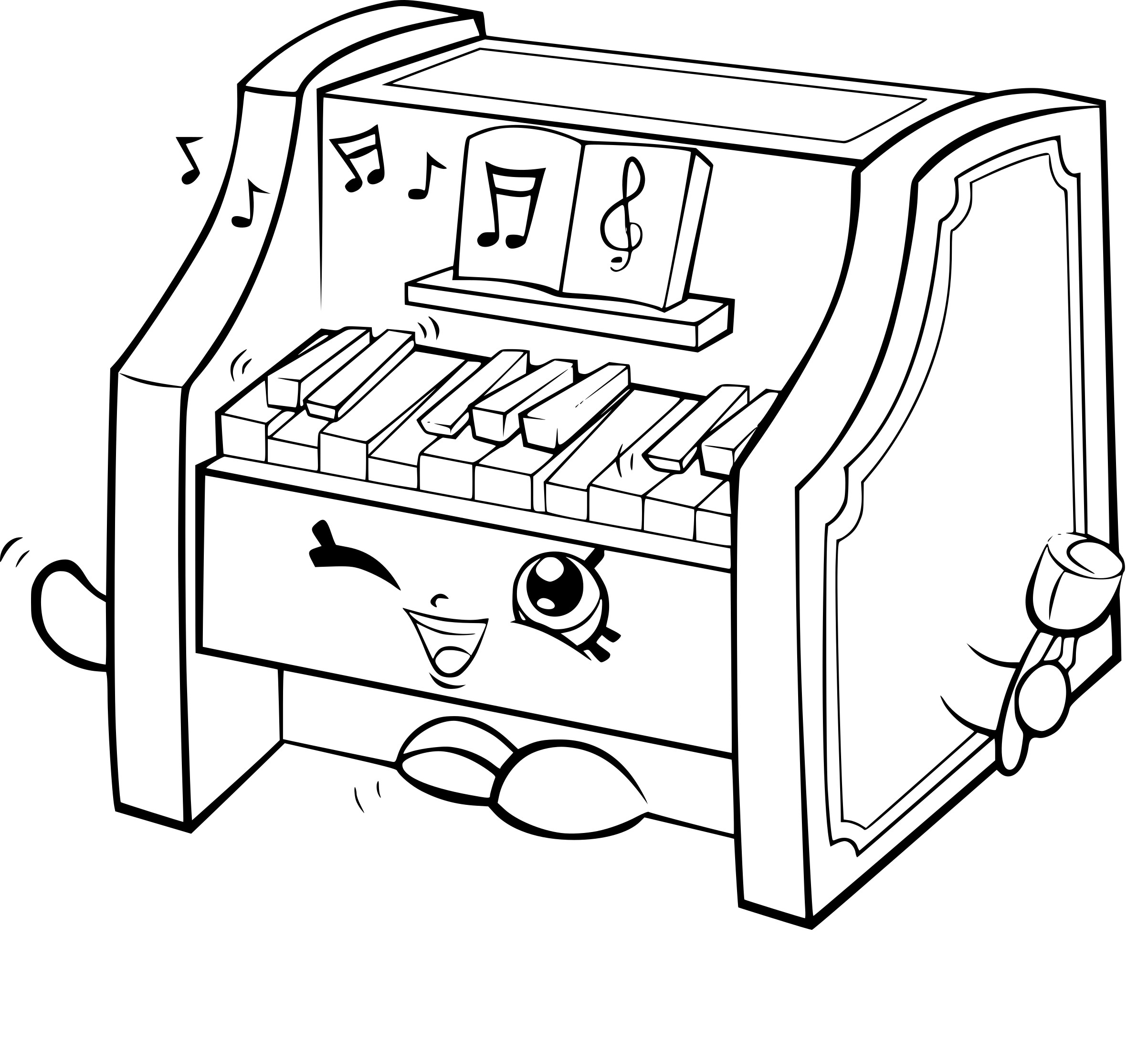 Coloriage shopkins piano imprimer gratuit - Coloriage piano ...