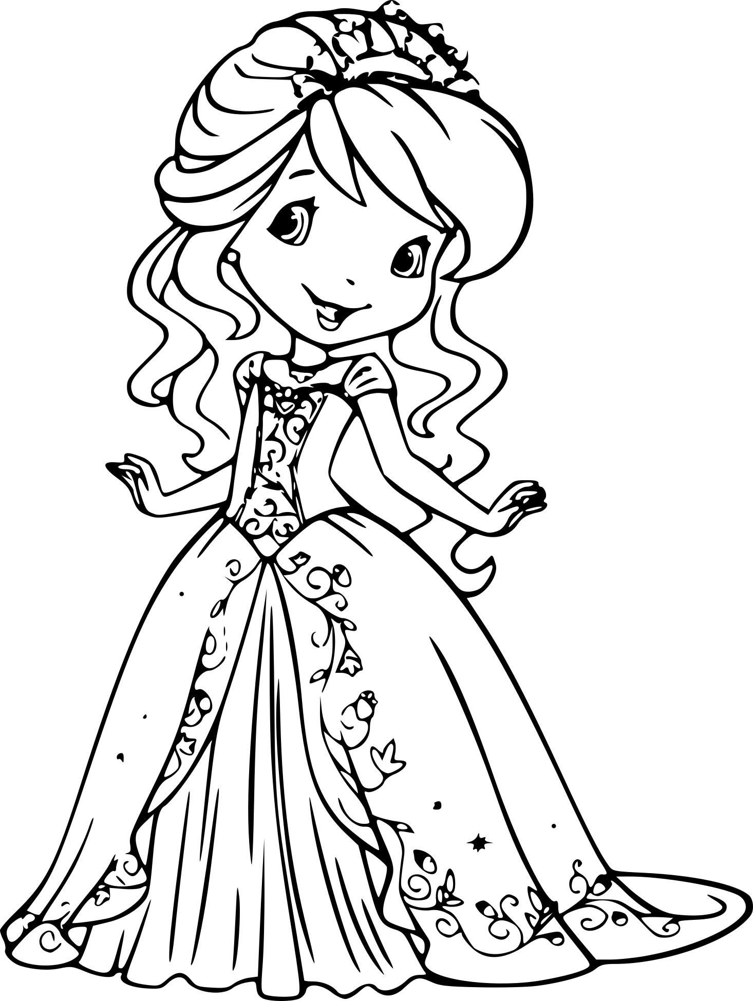 Coloriage Princesse Charlotte aux fraises à imprimer gratuit