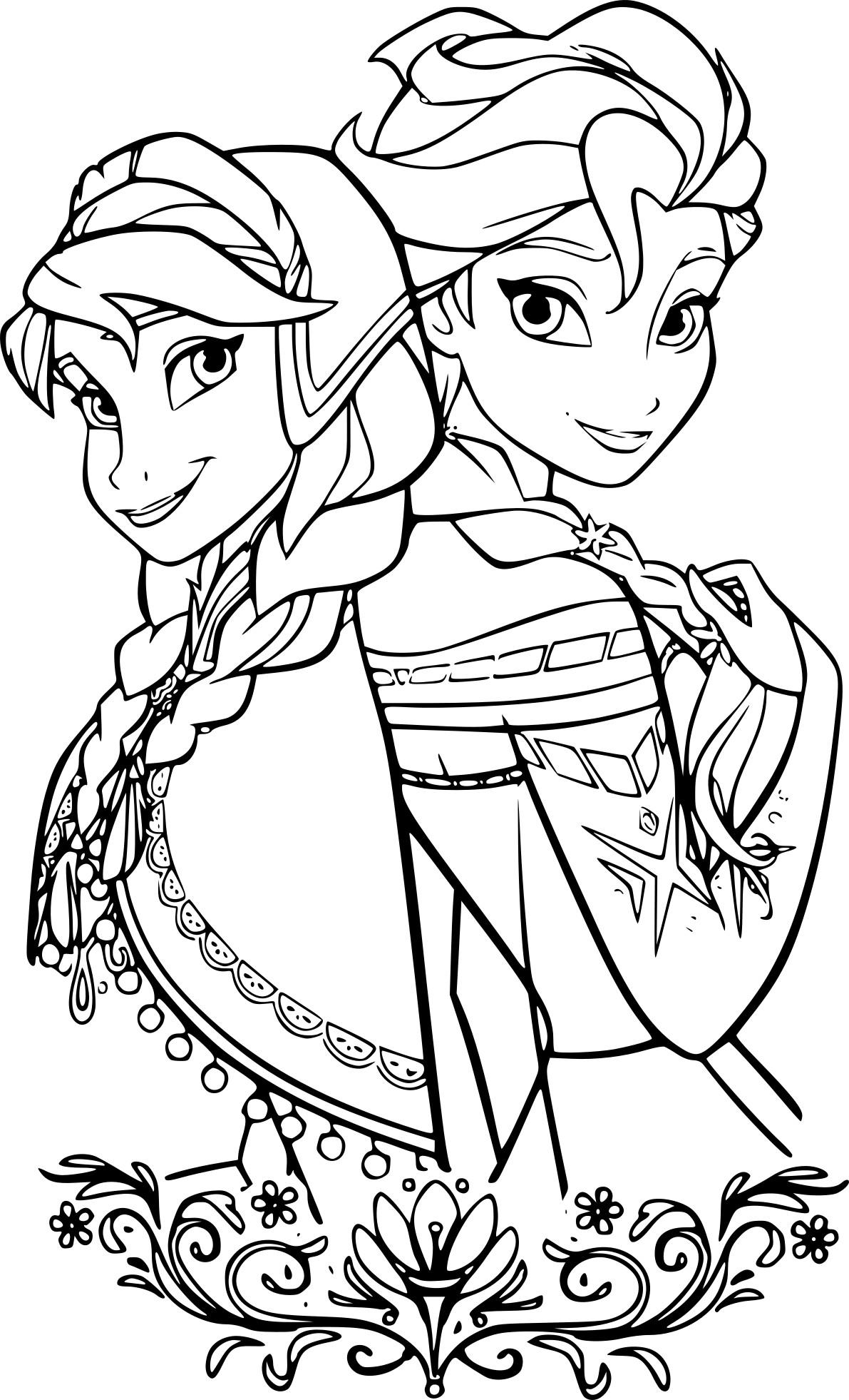 Coloriage Elsa et Anna à imprimer gratuit