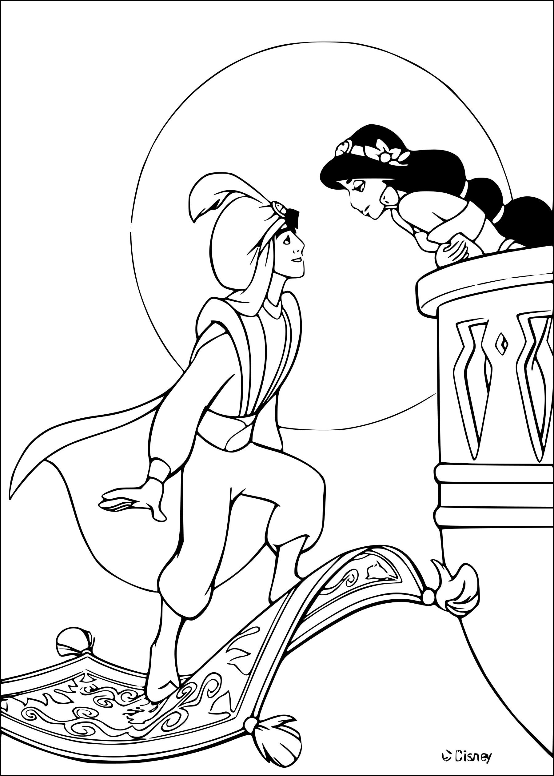 Coloriage Jasmine Et Aladdin à Imprimer Gratuit