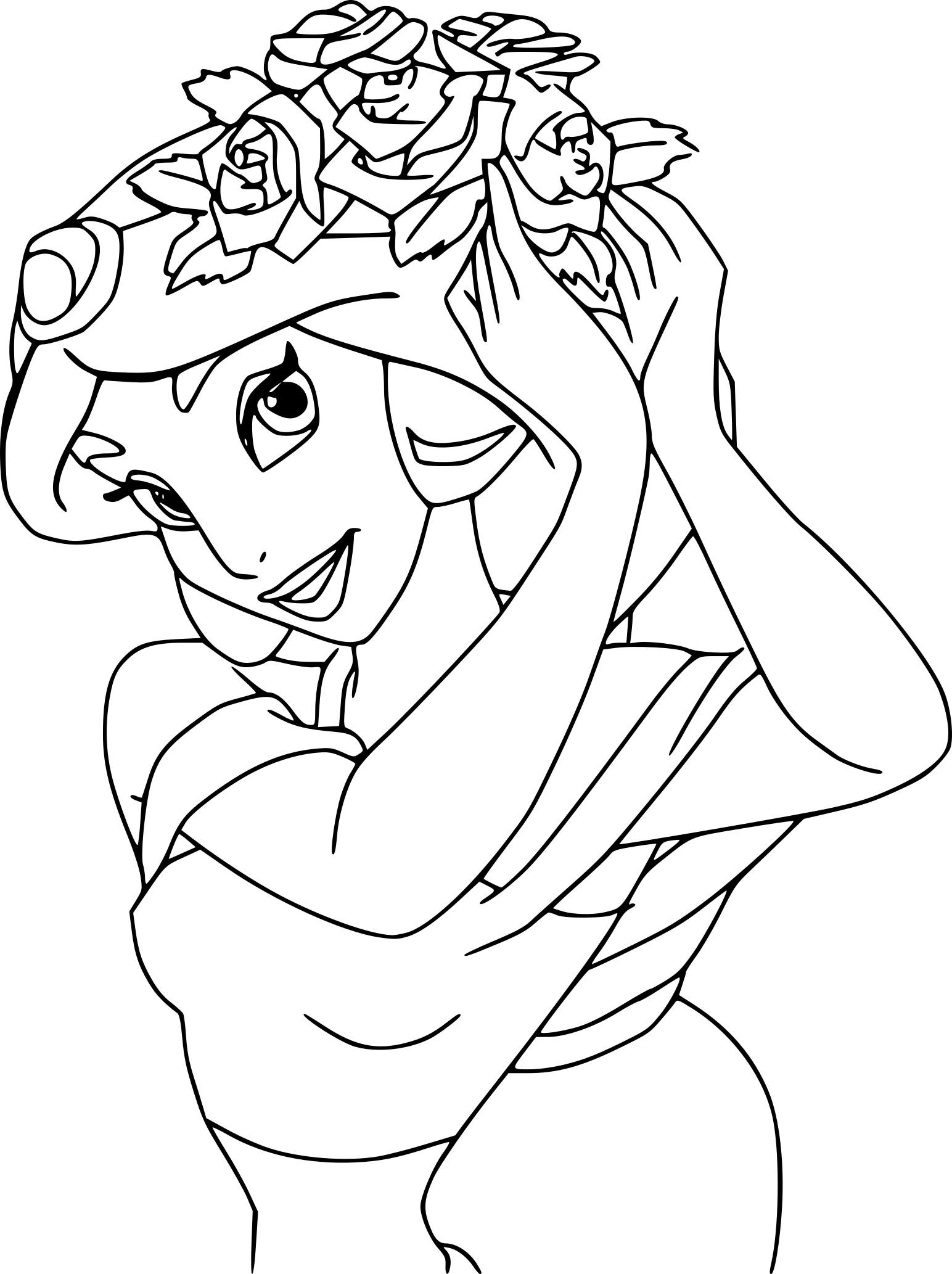 Coloriage jasmine fleurs dans les cheveux imprimer gratuit - Coloriage de jasmine ...