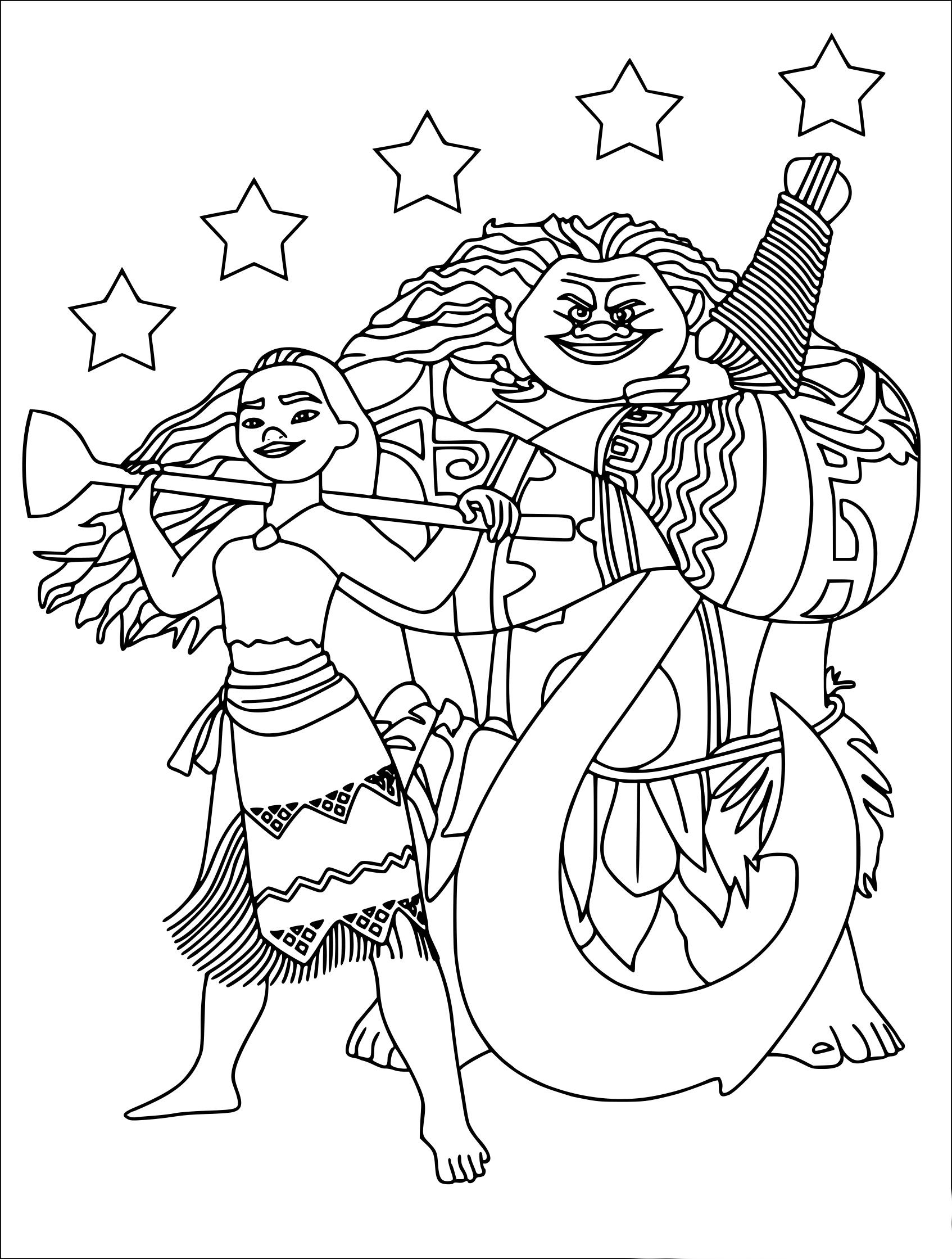 Coloriage Vaiana Et Maui à Imprimer Gratuit